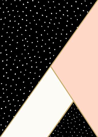 Composición geométrica abstracta en negro, blanco, oro y rosa pastel. Dibujado a mano el modelo de puntos y elementos geométricos. Moderno y elegante Póster de diseño abstracto, cubierta, diseño de la tarjeta.