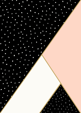 Abstract geometric composition in black, white, gold and pastel pink. Hand drawn dots pattern and geometric elements. Modern and stylish abstract design poster, cover, card design. Illustration