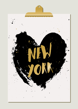 new york: Modern and stylish New York poster template. Hand drawn black heart, hand lettered gold foil text, golden clip. Gold, white and black home decor, typographic wall art design.