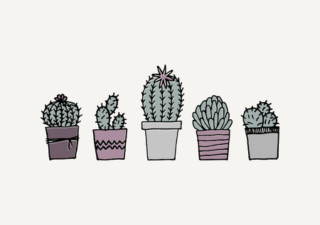 indoor garden: Poster with hand drawn succulent plants in pastel colors.