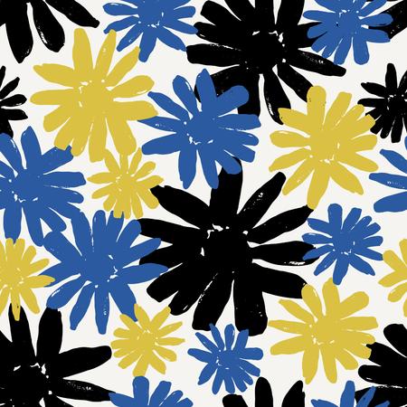 brocha de pintura: patrón que se repite sin fisuras con flores pintadas a mano en negro, azul y amarillo.