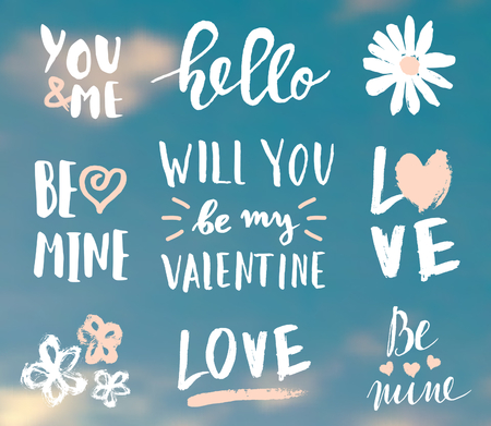hello heart: A set of cute and modern typographic designs for St. Valentines Day. Hand drawn elements and lettering designs perfect for greeting cards, invitations, mugs, etc. EPS10 file, gradient mesh used. Illustration