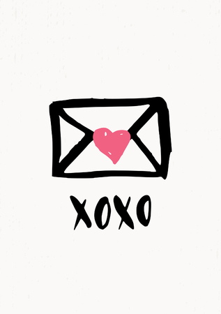 xoxo: Cute and modern St. Valentines Day greeting card template. Hand drawn envelope in black with pink heart on cream background.