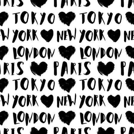 motif de répétition sans soudure avec la main de style typographique lettré noms de ville en noir et blanc. Seamless Voyage, modèle de carte de voeux, affiche, papier d'emballage.