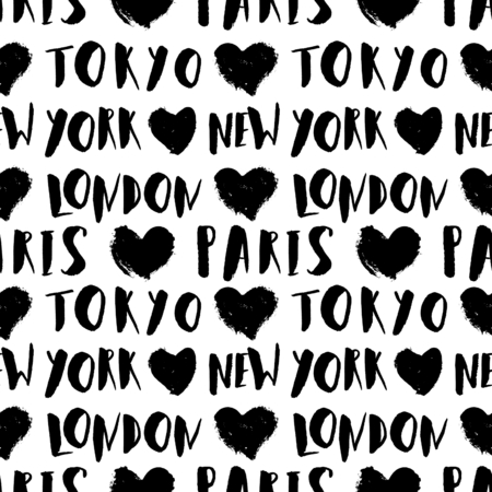 travel destination: Typographic style seamless repeat pattern with hand lettered city names in black and white. Seamless travel background, greeting card template, poster, wrapping paper.
