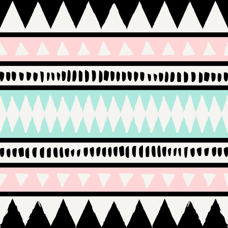 Abstract ethnic seamless repeat pattern in black, white, blue and pastel pink. Modern and stylish abstract design poster, cover, card design.