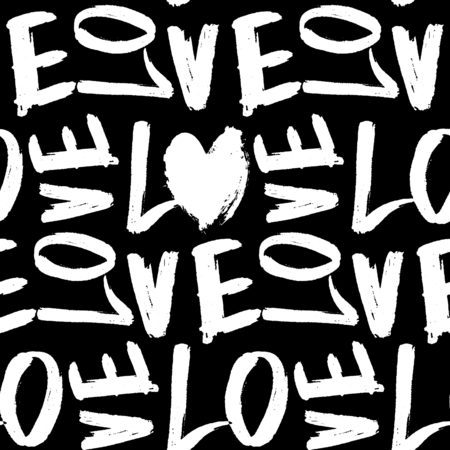 hand lettered: Typographic style seamless repeat pattern. Hand lettered text in black and white. Valentines Day greeting card template, poster, wrapping paper.