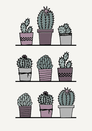 succulent: Poster with hand drawn succulent plants in pastel colors.