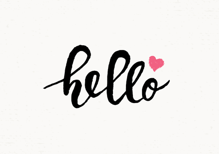 hello heart: Cute and modern typographic design St. Valentines Day greeting card template. Hand lettered text Hello in black and pink on cream background.