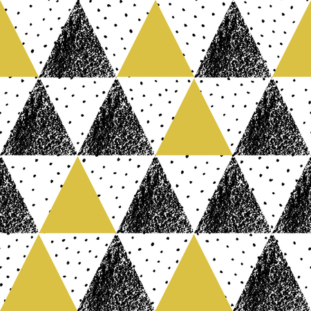 repeat texture: Abstract geometric seamless repeat pattern in black, white and yellow. Hand drawn vintage texture, dots pattern and geometric elements. Modern and stylish abstract design poster, cover, card design. Illustration