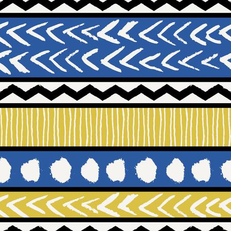 Abstract seamless repeat pattern ethnique en noir, blanc, bleu et jaune. Affiche Moderne et élégant conception abstraite, couverture, conception de la carte.