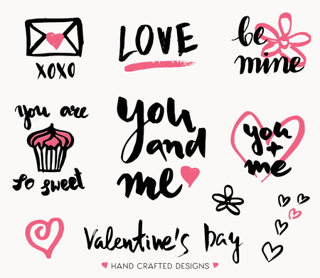 valentines background: A set of cute and modern typographic designs for St. Valentines Day. Hand drawn elements and lettering designs in black and pink, perfect for greeting cards, invitations, posters, mugs, etc.