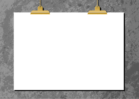 paper old: White sheet of paper with golden clips against an old concrete wall. Modern and stylish horizontal poster mockup, A4 size, scalable to any dimension.
