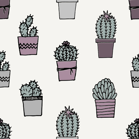 indoor plants: Hand drawn seamless repeat pattern with succulent plants in pastel colors.