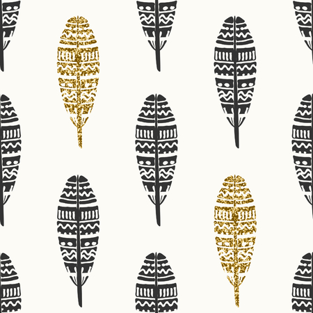 ornate background: Seamless repeating pattern with ornate feathers in black and gold glitter on cream background. Illustration