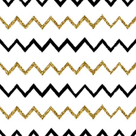 Seamless chevron pattern in black and gold glitter on white background. Illustration