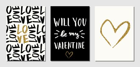 A set of three Valentine's Day designs in black, cream and gold glitter texture. Invitation, greeting card, poster design templates. Vettoriali