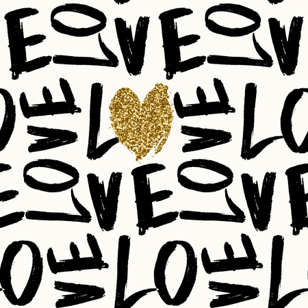 14 february: Typographic style seamless repeat pattern. Brush lettered text in black and white, gold glitter texture heart. Valentines Day greeting card template, poster, wrapping paper