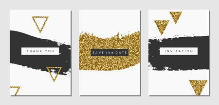 Un conjunto de tres diseños abstractos de trazo de pincel en negro, blanco y oro brillo textura. Invitación, tarjeta de felicitación, plantillas de diseño de carteles. Ilustración de vector