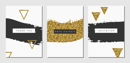 A set of three abstract brush stroke designs in black, white and gold glitter texture. Invitation, greeting card, poster design templates. Vectores