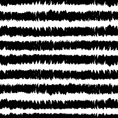rough: Hand drawn striped texture in black and white, seamless repeating brush strokes vector pattern.