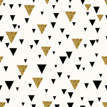 Abstracte naadloze herhalend patroon met driehoeken in goud glitter en zwart op crème achtergrond.