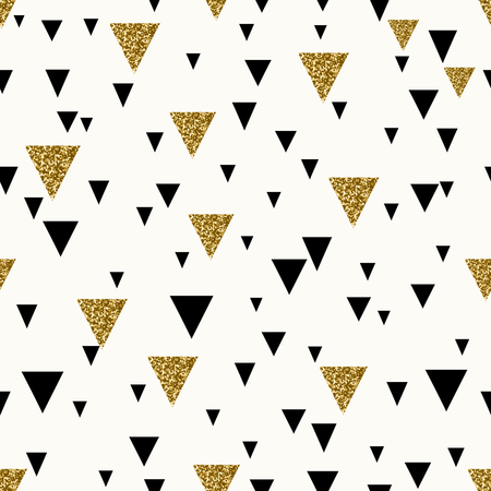 Abstract seamless repeating pattern with triangles in gold glitter and black on cream background.