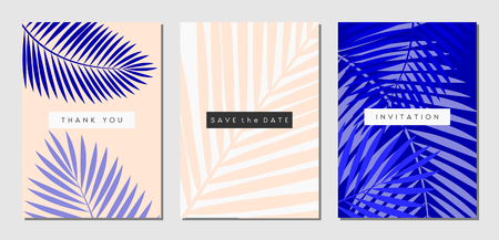 A set of three tropical foliage designs in white, pastel pink and purple. Invitation, greeting card, poster design templates.