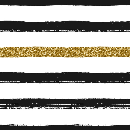 abstract paint: Seamless repeating pattern with brush strokes in black and gold glitter on white background.