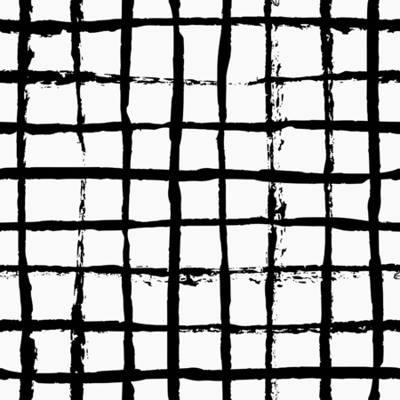 Hand painted thin brush strokes grid texture. Seamless abstract monochrome repeating background.
