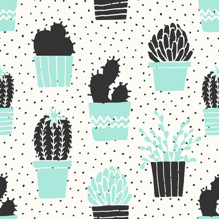 Hand drawn seamless repeat pattern with succulent plants in black, white and turquoise blue.