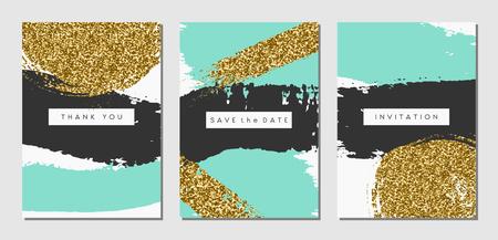 Ein Satz von drei abstrakte Pinselstrich Designs in Schwarz, Türkis und Gold-Glitter Textur. Einladung, Grußkarte, Poster Design-Vorlagen.