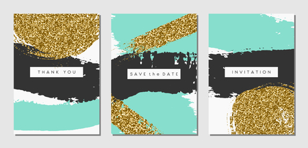 A set of three abstract brush stroke designs in black, turquoise and gold glitter texture. Invitation, greeting card, poster design templates. Vectores