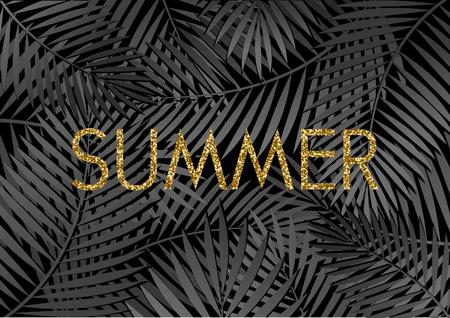 Or paillettes texture conception typographique sur un fond feuillage tropical. affiche moderne, carte, flyer, t-shirt, conception de vêtements.