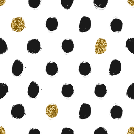 Hand drawn black and gold glitter texture polka dots seamless repeating pattern. Illustration