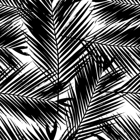 Seamless repeating pattern with silhouettes of palm tree leaves in black on white background. 版權商用圖片 - 51858181