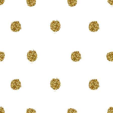 Hand drawn gold glitter texture polka dots seamless repeating pattern.