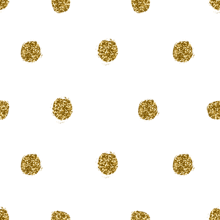 Hand drawn gold glitter texture polka dots seamless repeating pattern.