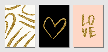 A set of three Valentine's Day designs in black, cream, pastel pink and gold glitter texture. Invitation, greeting card, poster design templates.