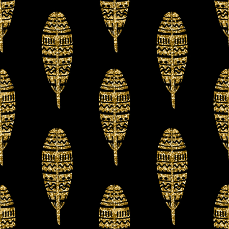 Seamless repeating pattern with ornate gold glitter feathers on black background.
