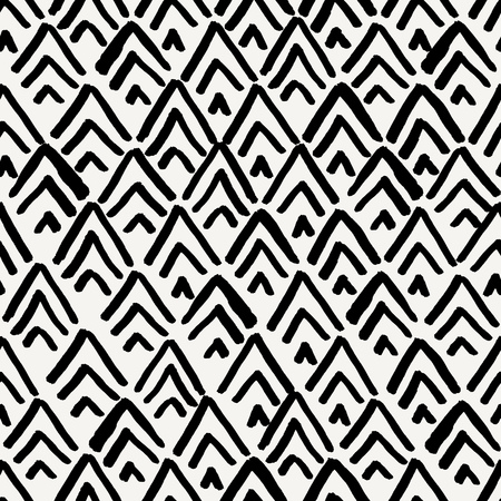 black ink: Hand drawn seamless repeating pattern with diamond shapes in black and cream.