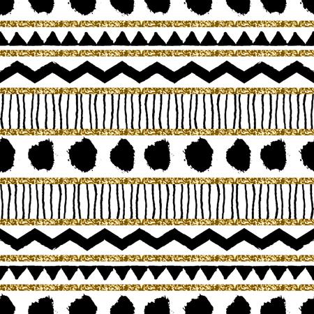 Abstract etnische naadloos herhaalt patroon in zwart, goud glitter en wit. Modern en stijlvol abstract ontwerp poster, cover, card design.