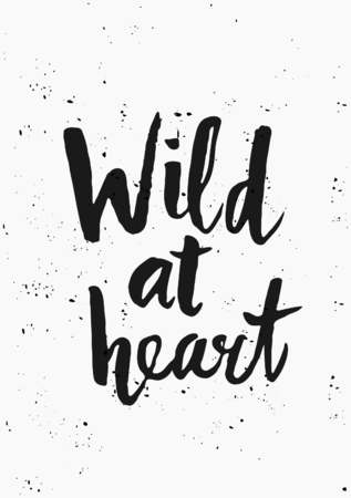 hand lettered: Modern and stylish typographic design poster. Hand lettered text Wild at Heart in black on white background.
