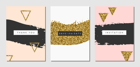 A set of three abstract brush stroke designs in black, white, pink and gold glitter texture. Invitation, greeting card, poster design templates.