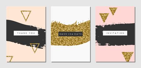 Un conjunto de tres diseños abstractos de trazo de pincel en negro, blanco, rosa y purpurina de oro textura. Invitación, tarjeta de felicitación, plantillas de diseño de carteles. Vectores
