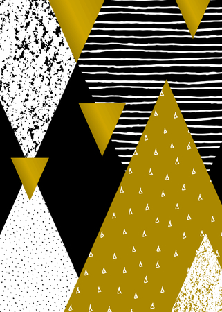 Abstract geometric composition in black, white and gold. Hand drawn vintage texture, dots pattern and geometric elements. Modern and stylish abstract design poster, cover, card design.