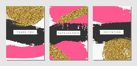 Een set van drie abstracte penseelstreek ontwerpen in zwart, roze en gouden glitter textuur. Uitnodiging, wenskaart, poster design templates.