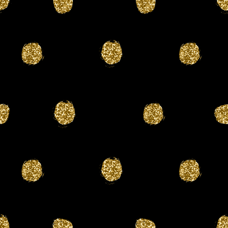 Seamless repeating pattern with hand drawn gold glitter texture polka dots on black background .