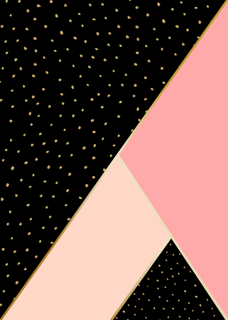 black lines: Abstract geometric composition in black, pink and gold. Hand drawn vintage texture, lines, dots pattern and geometric elements. Modern and stylish abstract design poster, cover, card design. Illustration