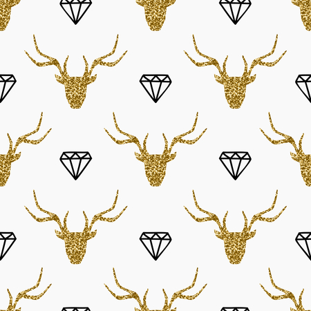 diamonds on black: Seamless repeating pattern with gold glitter deer heads and black diamonds on white background.